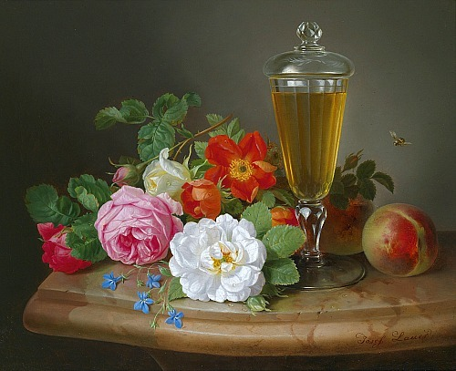 Josef Lauer Still Life with Roses, Peach and Wine Glass 19th century