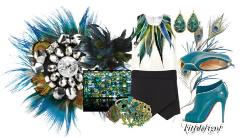 Peacock by kitsdesigns featuring platform ankle booties ❤ liked on PolyvoreSleeveless vest, $255 / Zara  shorts / Shoes, $30 / Christian Louboutin platform ankle booties / Prada  clutch / 1928 sparkle jewelry / Évocateur leaf earrings / Sevan Bicakci pave ring / Pier One Feather Flower Stem - Peacock Green / Pier One Peacock Feather Spray