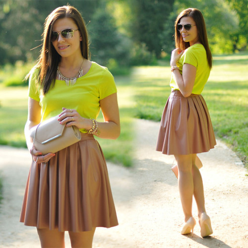 Beige skater skirt and neon top (by Renata M..)