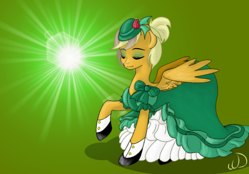 ask-whistledixie:  Took me a while, but I got me a getup fer that there Pony Prom. Something even the folks back home would be mighty proud of. I gotta say, green is definitely my color. This here's fixin' to be one hay of a hoedown~!