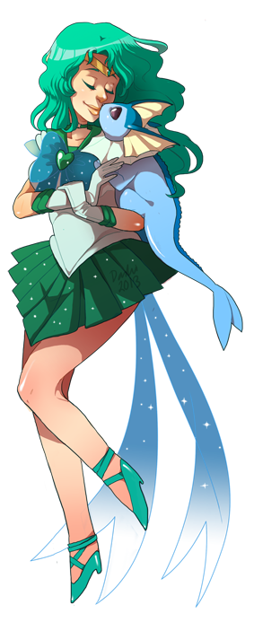 dashiana:  I also finished Vaporeon x Sailor Neptune right after Jolteon x Sailor Jupiter! This is a continuation to my Sailor Moon x Pokemon bookmark series, which already includes Flareon x Sailor Mars and Glaceon x Sailor Mercury! Hopefully you like how Neptune and Vaporeon look! :) I'm hoping to finish all the scouts for Desucon 2013.