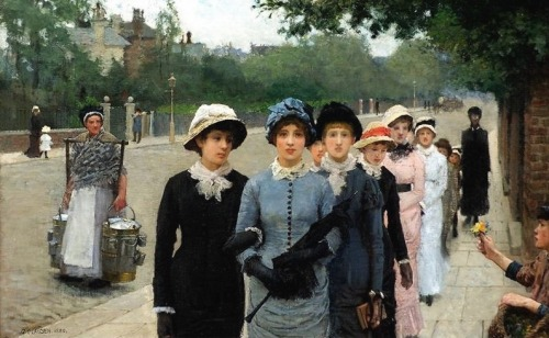 in-the-middle-of-a-daydream:   George Clausen - Schoolgirls, 1880