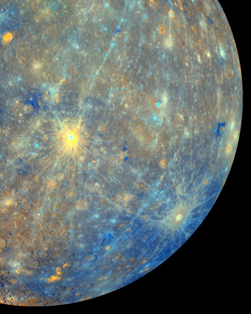 High resolution, full color photo of planet Mercury's surface, from the MESSENGER (Mercury Surface, Space Environment, Geochemistry, and Ranging) spacecraft.