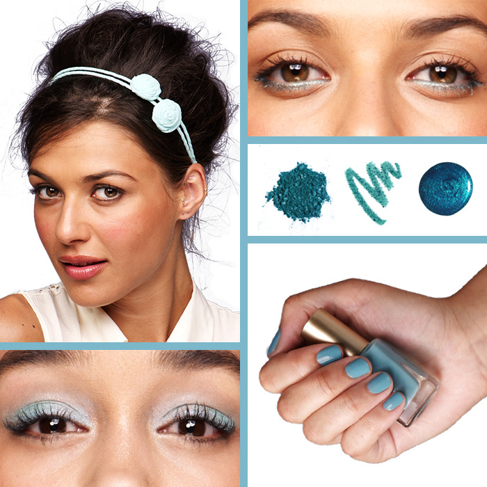 Aqua 4 Ways Aqua is the color of the moment - wear it as a soft lid wash, an on-trend liner, or a chic mani, or add sophisticated polish to your hair with a headband. own it now: Revlon photo ready. Maybelline color tattoo. L'oreal polish.