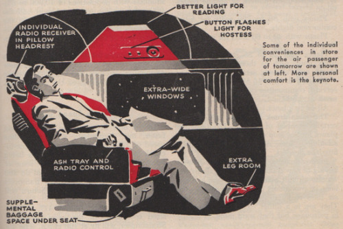 courtenaybird:  Visions of Futuristic Air Travel (And Plenty of Leg Room!) in Popular Science, 1946 (via Om)  Yep, it's all ash trays and leg room.