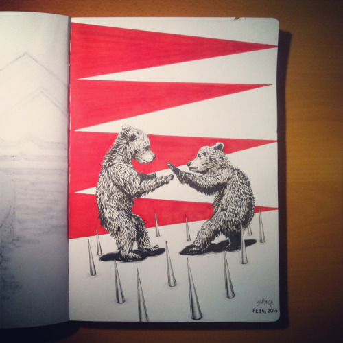 shingosketchbook:  Bear-fu to the death in the spike pit! #bear #illustration #sketchbook Art by Shingo Shimizu. www.shingo.ca  Bear-fu to the death in the spike pit! #bear #illustration #art #kuma