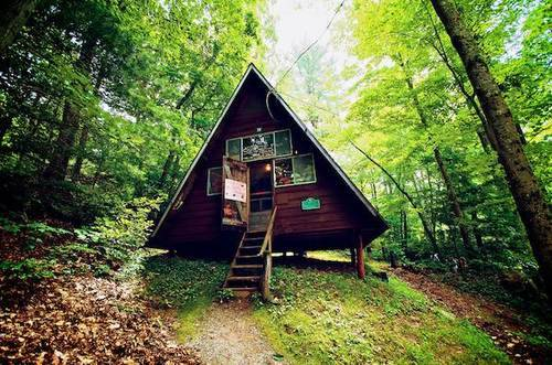 Tiny house in the woods on We Heart It. http://weheartit.com/entry/61901960/via/chrishyel09