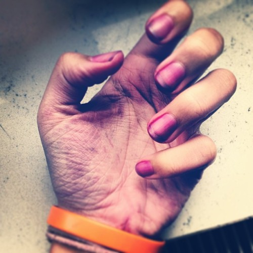 Dyed my hair #purple but my nails turned purple in the process. #dyedhair #schwarzkopf #germany