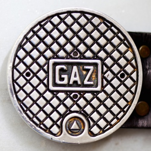 Manhole Belt Buckle silver.