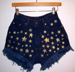 obeyy-shanizzle:  Golden Stars High Waisted Denim Shorts