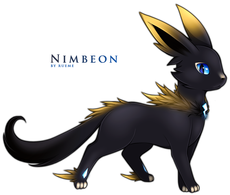 all-that-is-pokemon:  Fakemon: Nimbeon by =Rueme  -NIMBEON-(nim-be-on)Dark Storm PokemonType: Dark/ElectricEvolve From: Male or Female EeveeEvolve With: Level up with high friendship and during rainy conditions.