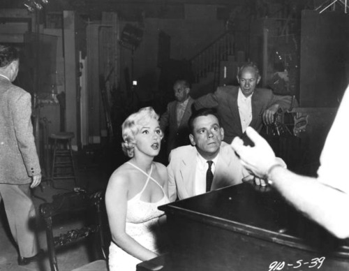 "goddessmarilyn:  Marilyn and Tom Ewell on the set of ""The Seven Year Itch""; 1954"