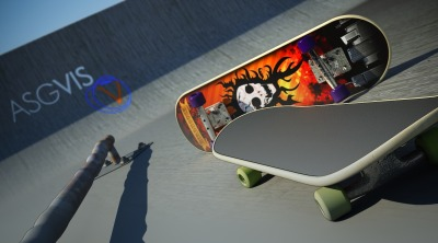 Giveaways 3D model Visualization scene of a skate park, modeled in Rhino 3D and rendered with V-Ray for Rhino. The skate board model can be downloaded here. Model is available in .3ds, .3dm (version 4 and 5), and .dwg, without materials attached (only geometry).