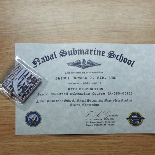 Hooyah Thresher!!! Graduated with distinction. (at New London Naval Submarine Base)