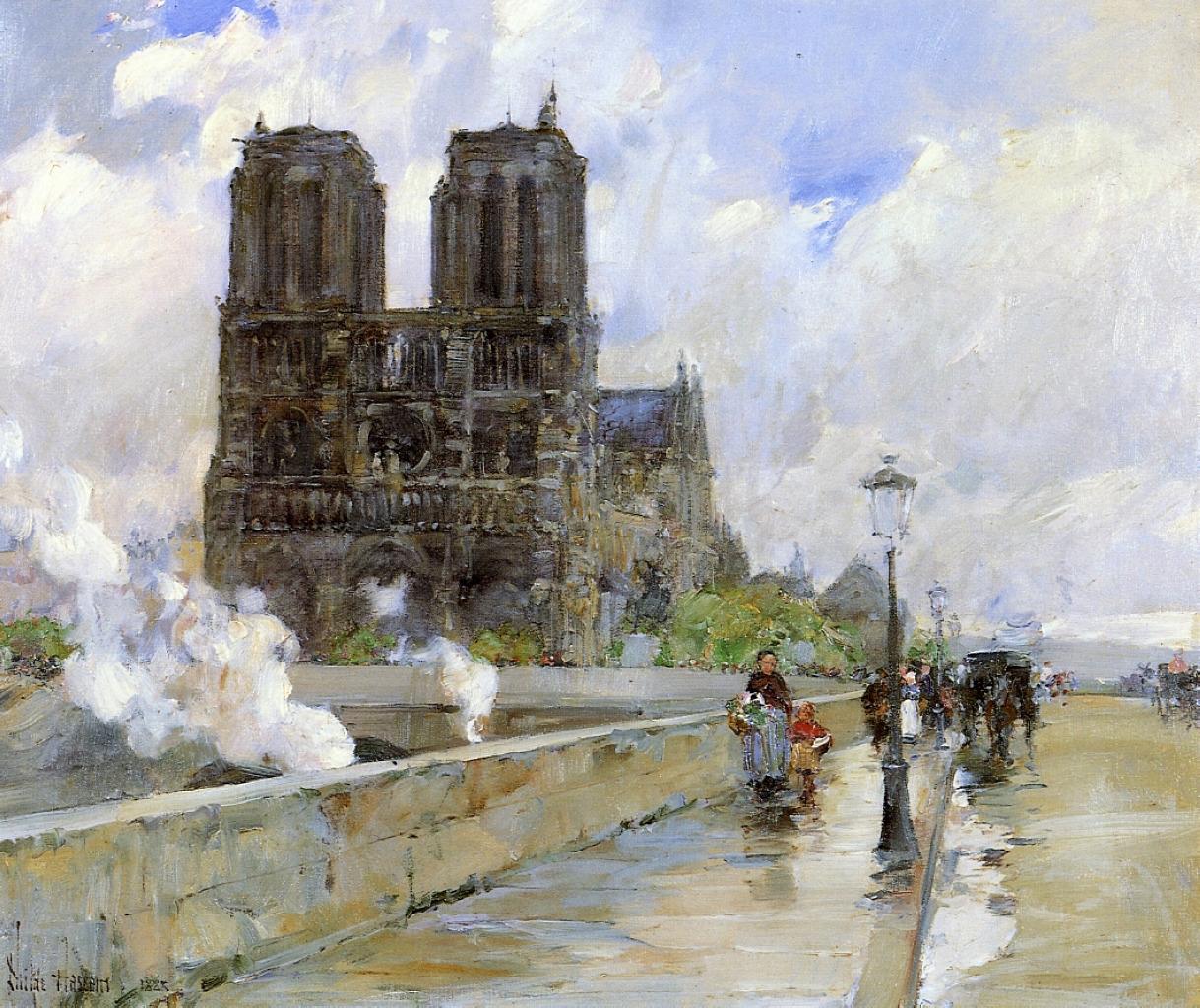 lonequixote:  Notre Dame Cathedral, Paris~Childe Hassam
