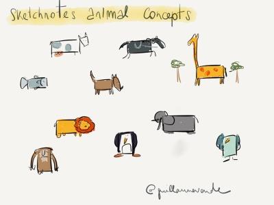 "Animal Concepts ""Concepts de representations graphiques d'animaux pour sketchnotes (ou croquinotes)"" Made With Paper bycroquis2gui"