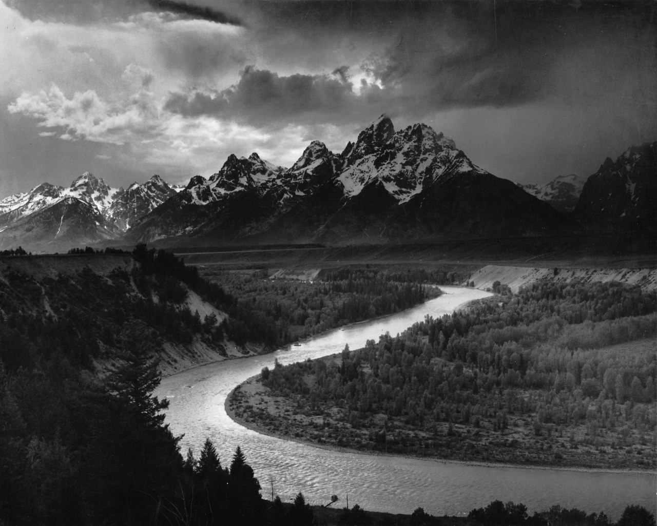 "adanvc:  ""The Tetons—Snake River"" Wyoming, 1942. by Ansel Adams"