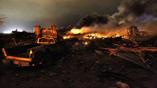 "quickhits:  Perspective: fertilizer plant explosion far more deadly than Boston bombings.  CNN: Twelve bodies have been recovered in West, Texas, Sgt. Jason Reyes said Friday, two days after a fiery explosion ripped through the heart of the close-knit central Texas town. Sixty people are unaccounted for, Sen. John Cornyn, R-Texas, said Friday. He said authorities are checking to see whether any of them are in hospitals. Reyes said 200 people have been injured and 50 homes have been destroyed. ""This is still being treated as a crime scene,"" Reyes said.  At the very least, twelve are dead — I want to impress on you that that number is the best case scenario. If we're lucky and that number holds, then the explosion at the West Fertilizer Co. was four times as deadly as two bombs deliberately set by suspected terrorists in Boston. And I think we're all sure that we aren't going to be that lucky. That number is not going to hold. It's becoming clearer every day that West Fertilizer was ridiculously under-inspected and under-regulated, despite the incredibly dangerous chemicals being used there. Last year, it paid a fine of just $5,250 for violating Hazardous Materials Regulations — a paltry sum, knocked down from the already paltry original judgment of $10,100. So once the smoke clears on these incidents, which event do you think is going to going to get the spotlight in Washington, lax regulation of industries using dangerous chemicals or terrorism? The answer's so obvious the question might as well be rhetorical. [photo by The Bay Area's News Station]"