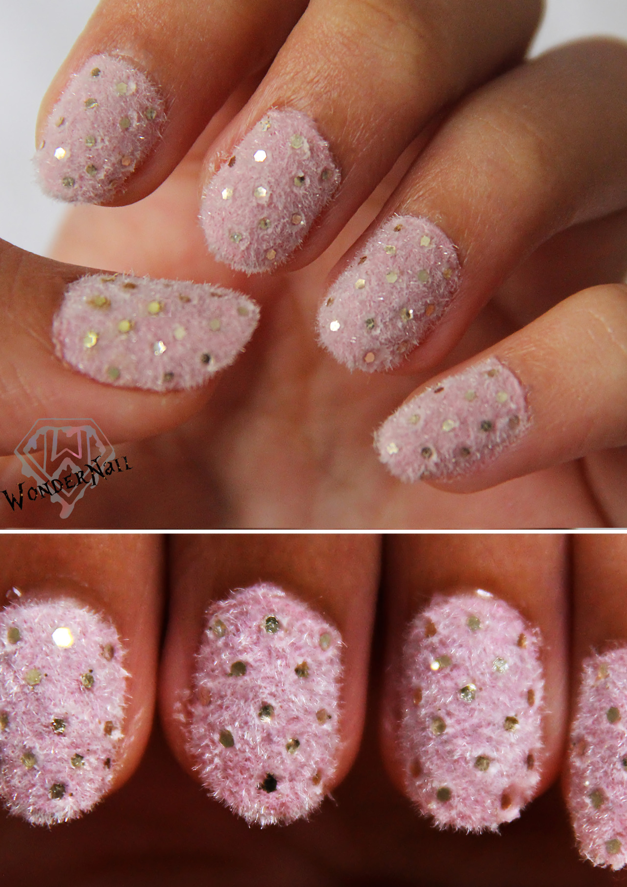 Fuzzy nail art with glitter polka dots!!!I used floc powder to create the velvet effect (: