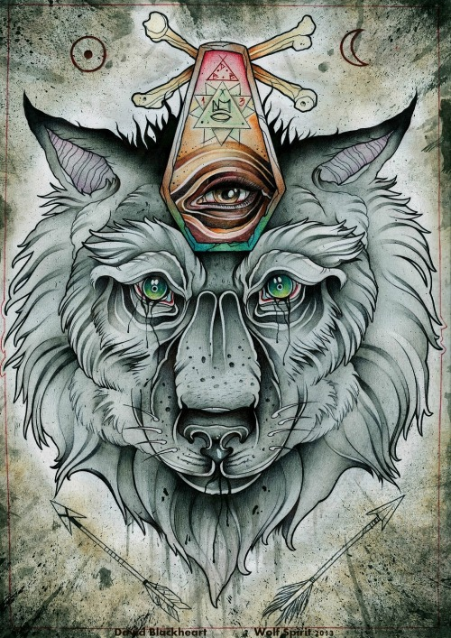 "tattoome:  ""Wolf Spirit"" by David Blackheart, uk, blackheartoriginal.tumblr.com/ or facebook.com/DBlackheartBird"