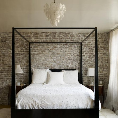 designed-for-life:  Brick walls bedroom  Make a feature out of bare brick walls. Raw finishes like these create an eclectic mood when combined with sleek contemporary fittings like this simply stylish four-poster bed.