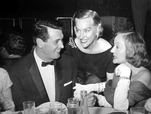 theniftyfifties:  Rock Hudson, Gloria Swanson and Tallulah Bankhead (Rock's date for the evening) at the premiere party for 'Pillow Talk', October 1959.