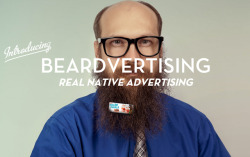 laughingsquid:  Beardvertising, Fuzzy Bearded Men Can Make Money By Clipping Mini Billboards on Their Beards