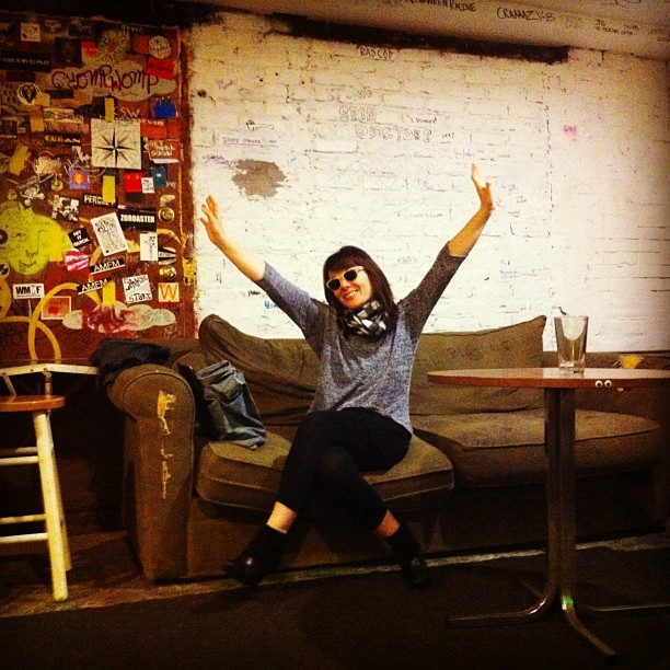 detectivemusic:  Guylaine backstage in Chicago at the Empty Bottle #readytorock