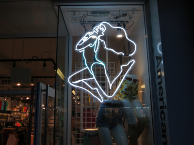 americanapparel:  Neon at the American Apparel store in Harlem. May 2013.