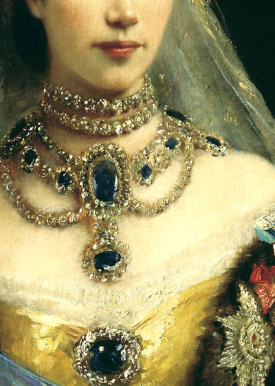 detail of a portrait of maria fyodorovna by konstantin makovsky