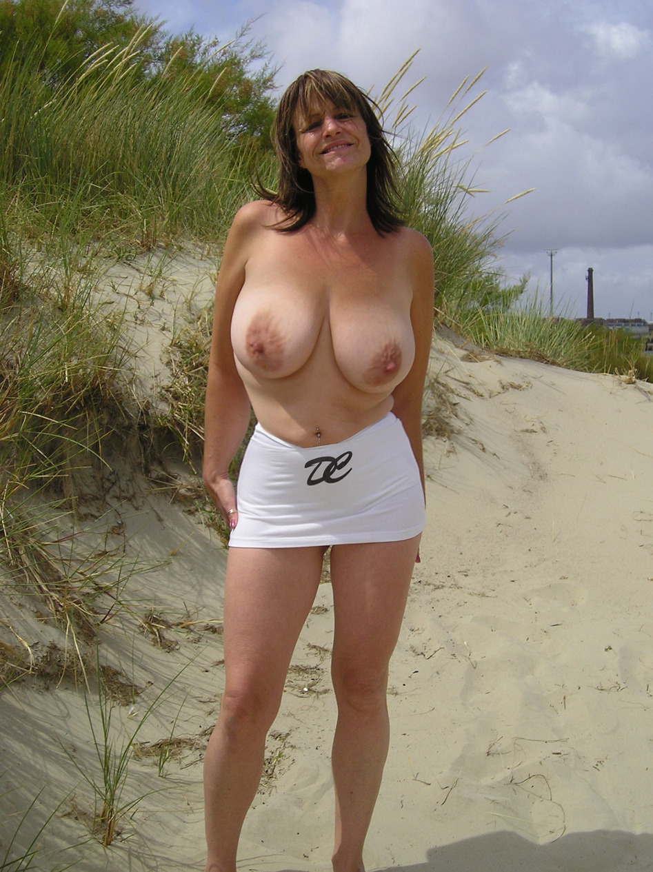 Dressed mature wife nude outdoors
