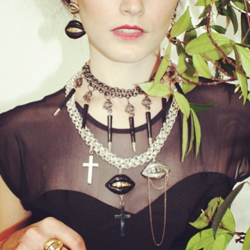 Our favourite ever #patricianicolas lip necklace and earrings #gothicblack 💛 http://www.patricianicolas.com/black-punk-snakes-necklace-p-461.html