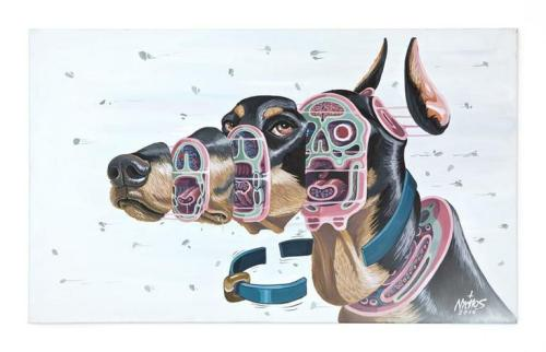 nychos:  Cross section of a Doberman (mixed media, 60x100cm)