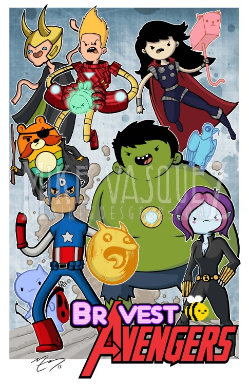 bravestwarriors:   Hey Guys!  After I finished this I saw that someone else already did a Bravest Warriors/Avengers Mash Up..so I was a little sad..but I still wanted to share. Mines a little different so I think it can fly. Hope everyone enjoys! Follow me on Twitter at @mikegoesgeek for prints and more! :)   Wallow… Smash! Submit your fan art to us by clicking here Super awesome crossover fan art by mikegoesgeek