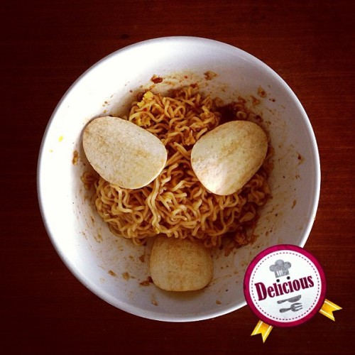 Trust me! Chips make your noodle taste better! ^^ (at Ajinomoto (Malaysia) Berhad)