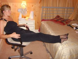 denier10:  rest those weary pantyhosed feet on the bed.