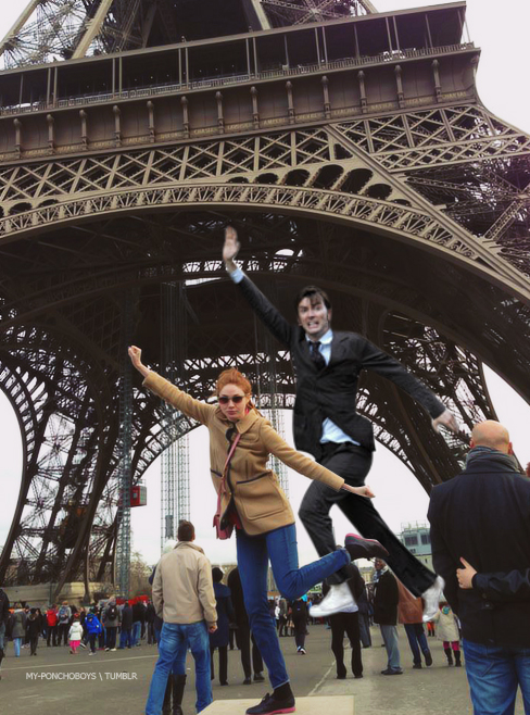 Karen in Paris and David Tennant in Places He Shouldn't Be. davidtennantinplacesheshouldntbe:      Karen and DavidOriginal image