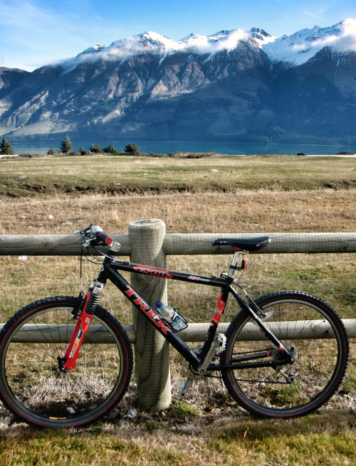 Amazing Bikes Around the World | Mountain bike, loaned to guests by Blanket Bay Lodge on the shore of Lake Wakatipu, New Zealand