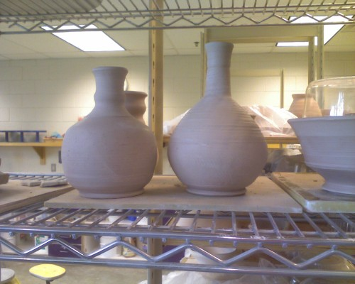 Some of the work I did while demoing the potter's wheel a week and a half ago. I was on that wheel for about six-and-a-half hours, so there's a few more pieces not shown here.