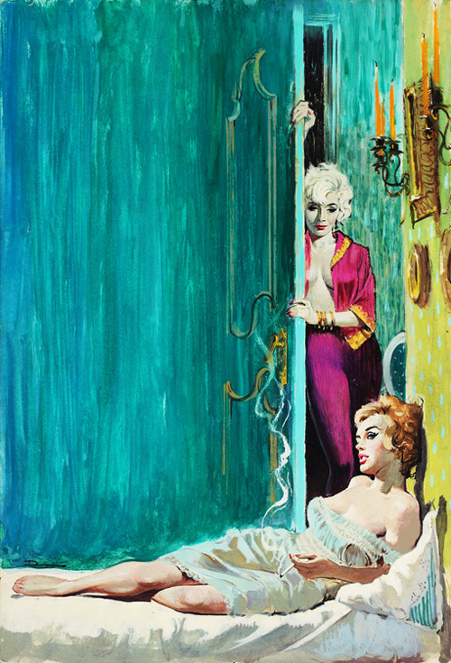 Never Love a Man, paperback cover illustration by Ernest Chiriacka, 1962