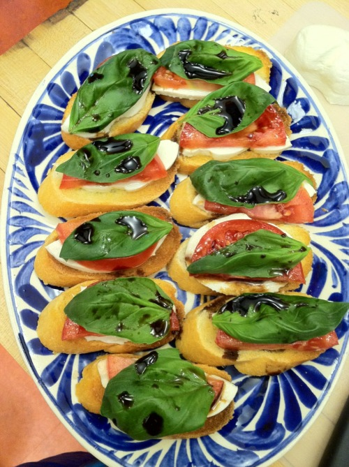 He's cooking for me again and made some bruschetta to munch on until everything is ready