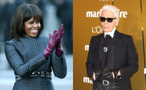 Karl Lagerfeld does not like Michelle Obama's new bangs. Why? Apparently they make her look like a news anchor. Ok then, Karl.