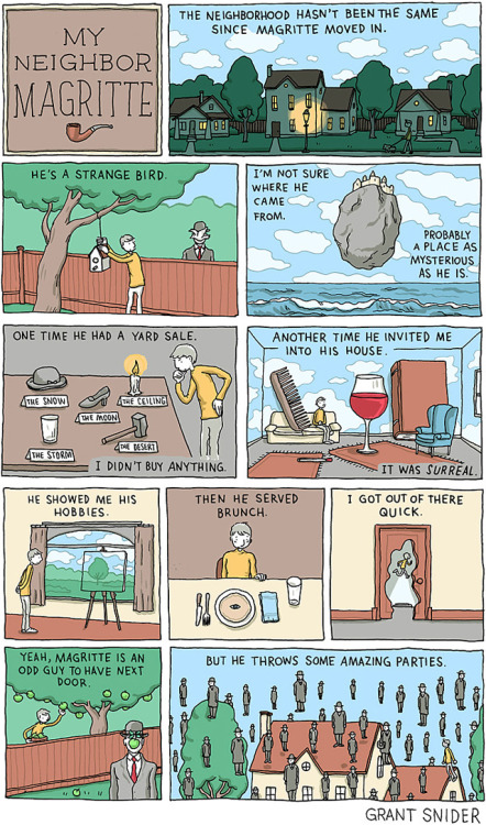 laughingsquid:  My Neighbor Magritte, A Comic About Living Next Door to Surrealist Artist René Magritte