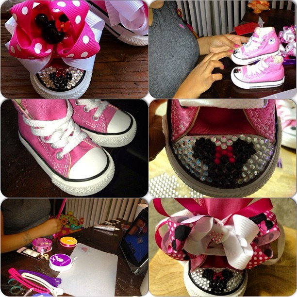 Journ Bug's shoes for her bday!! Our inspiration top left..the end product bottom right ☺ @sugah_mama is dope. #MinnieTheme #DirtyJourneeBdayPuurrtteeee #DIYShoeProject #MinnieMouse
