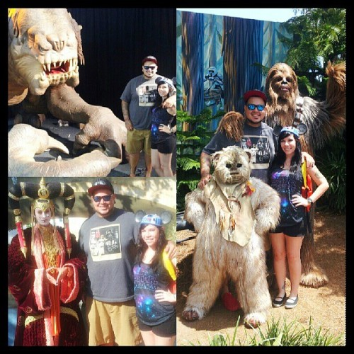family photo #starwars #startours #chewy #rancor #queenamidala #ewok #disney