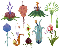I made up some plants. Gouache on paper