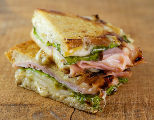 fattributes:  Pressed Pear, Ham and Cheese Sandwiches
