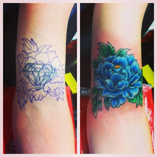 Diamond cover up #tattoo#coverup#atomictattoos