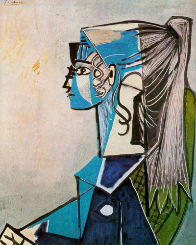 thehighlandrape:  PABLO PICASSO - Portrait of Sylvette David in Green Chair (1954)