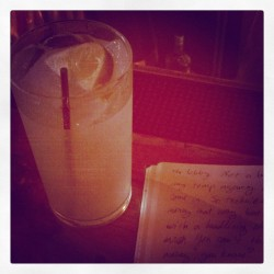 Wannabe #novelist #writing at happy hour on his birthday. Like five people in the inside of the bar. One of them is dancing a lot. No dance floor. Even when you aren't looking, you know he is dancing because it makes his smell waft over to you. This is a dreadlok situation.